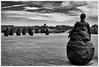Conversation Piece (Seven_Wishes) Tags: southshields littlehaven sculpture bronzefigures weebles conversationpiece juanmuñoz blackandwhite newcastleupontyne tynewear uk 2012 views2k