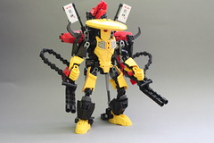 Shellshock destroyer of worlds (Exxtrooper) Tags: trooper black eye yellow cheese photography one robot crazy cool war gun factory dragon force lego menacing rifle chinese inspired chainsaw machine police cyclops assault killer hero guns villain fucker bionicle markings handcuffs weapons mecha mech 2012 bal cyclop breakout joints dakka exx xt4 keetongu exxtrooper ninjago
