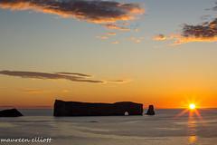 """The Moment"" (maureen.elliott) Tags: sunrise skies water rockform perce quebec gulfofstlawrence ocean clouds sunrays"
