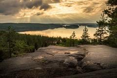 Hiidenvuori (Zimeoni) Tags: goldenhour landscape sunset foreground water lake island forest mountains hiidenvuori iitti finland summer rock sun rays tamron1530mm d610 landscapephotography