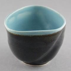 Blue Twisted Triangular Handless Teacup (Ryan McCullen) Tags: mug cup coffee tea coffeecup coffeemug teacup triangle handless blue black clay ceramic stoneware pottery handmade wheel wheelthrown functional home