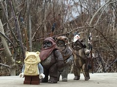 Returning From The Battle Of Endor (splinky9000) Tags: kingston ontario toys greenwood park hasbro lego star wars return of the jedi 1983 ewok march wicket w warrick chief chirpa logray moon endor plank bridge paploo