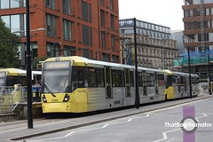 Manchester Metrolink 3060+3008 (Luke Bowman's photography) Tags: manchester metrolink 3060 3008 bombardier m5000 flexity piccadilly gardens