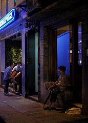 """""""late night blues"""" (hugo poon - one day in my life) Tags: xt2 35mm hongkong central wellingtonstreet longnight blue colours solitude reading streetlife"""