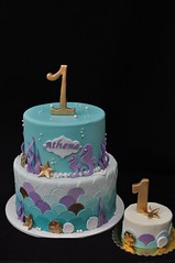 Mermaid cake and smash cake (jennywenny) Tags: gold purple turquoise smash cake mermaid first birthday