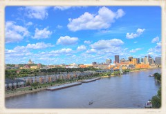 Greetings From St Paul (mazzmn) Tags: stpaul minnesota skyline landscape city clouds river mississippi boat frame postcard outside scenic buildings