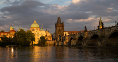 Golden Evening in Prague (romanboed) Tags: leica m 240 summilux 50 czech europe cesko czechia prague panorama clouds evening spires praha prag praag praga old town stare mesto charles bridge karluv most vltava reka river moldau summer afternoon glow city cityscape architecture travel tourism