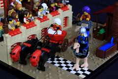The Kingdom of Ferrari (jsnyder002) Tags: lego moc creation model raceway medieval kaliphlin middle eastern race tower brick technique design dirt water trough shelter pavilion stands crowd