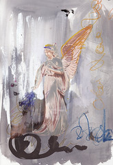 Angel re-writing the scribbles of our life (amaradacer) Tags: collage art painting angel doodles abstract figurative grey mixedmedia acrylic canvas figure spiritual spirit