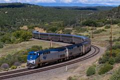 Snaking over the Raton Pass (Ryan J Gaynor) Tags: amtrak southwestchief railroad railfan railway railroading train passengertrain newmexico ratonpass westbound america usa curve mountain superliner