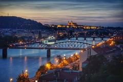 The bridges of Prague (beyondhue) Tags: evening dark light prague praha czech republic bridge zeleznicni vltava river castle vysehrad boat petrin observatory beyondhue travel 2016