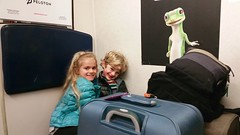On The Train To The Airport! (Joe Shlabotnik) Tags: train galaxys5 lirr violet luggage 2016 gecko march2016 cameraphone everett baggage