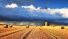 'Incoming' (Gerard Joseph Christopher) Tags: ireland irish celtic kearney quintin bay windmill stump hay bales barley harvest clouds rain golden