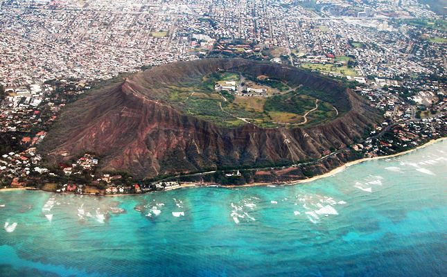 Aerial view of Diamond Head Crater, Oahu, Hawaii