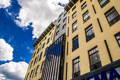 Yellow Buildings & Blue Skies (AlanScerbakov) Tags: blue sky building yellow buildings nikon skies cyan 1855mm d3100 alanscerbakov