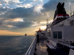 Homeward bound (Richard Reader (luciferscage)) Tags: camera sunset sea england france ferry clouds boat journey dover englishchannel 2012 lamanche dfds week26 ricohgx200 richardreader 52weeks2012