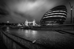 scoop (vulture labs) Tags: street city uk longexposure nightphotography travel bridge blue light england sky urban bw white black building london tower art water thames skyline architecture modern night clouds skyscraper river dark landscape photography photo nikon key europe long exposure moody cityscape low capital under wide southbank rings olympic nikkor toned scoop cityoflondon lightroom londonskyline d700 1424mm vulturelabs