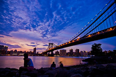 The Sunset of Hometown - NYC (sxhuang) Tags: leica nyc newyorkcity light sunset shadow people cloud newyork reflection girl stone couple manhattan lowereastsid