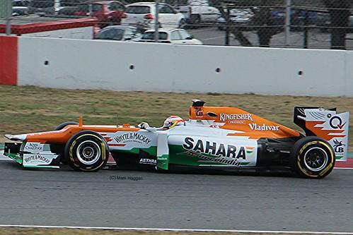 Paul di Resta in his Force India at Formula One Winter Testing, Circuit de Catalunya, March 2012