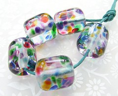 Rainbow Jewel Barrels (Glittering Prize - Trudi) Tags: pink blue red green glass yellow golden beads purple handmade barrel rainbows lampwork jewel prosm