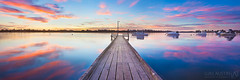 Motionless Mornings (Luke Austin) Tags: pink blue summer reflection art sunrise print boats still vibrant jetty panoramic calm canvas perth westernaustralia melville applecross canningbridge mthenry