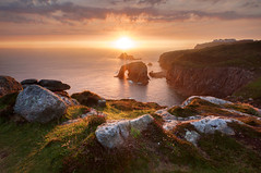 Land's End, Day's End (Paul Newcombe) Tags: ocean uk sunset sea summer england seascape southwest english water backlight landscape evening coast countryside cornwall unitedkingdom britain july landsend sunburst british backlighting coastpath sigma1020