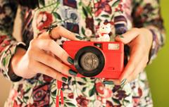 hello, august ♥ (Natália Viana) Tags: red cute cat print photography miniature lomography details fisheye gato lovely miniatura câmera estampa natáliaviana