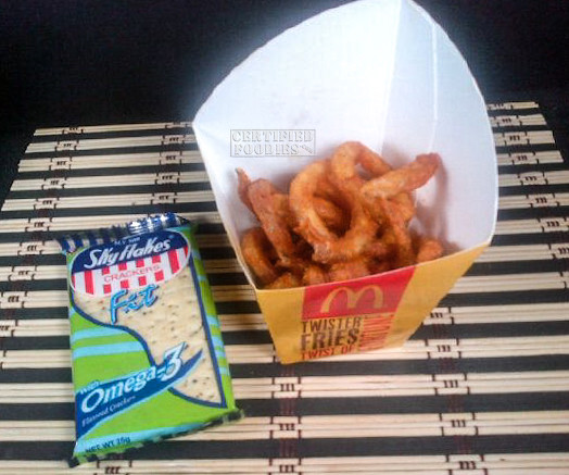 McDo Twister Fries - comparing the size with a Sky Flakes pack