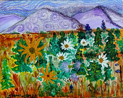 abstract landscape to Truchas (gtglanz/art) Tags: flowers trees mountains art colors landscape outsider originalart mixedmedia contemporaryart paintings expressionism expressionist z imaginary acrylics fantasyart abstractpaintings healingart spontaneousart feministart gaylephotos gtglanzart gayleglanz