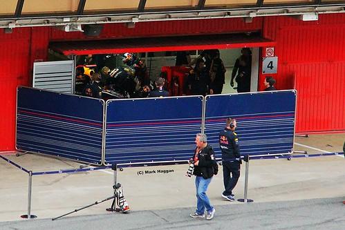 Sebastian Vettel prepares to get into his Red Bull at Formula One Winter Testing, Circuit de Catalunya, March 2012