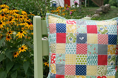 Seaside Patchwork Pillow (Fresh Lemons : Faith) Tags: vintage moda pillow patchwork denyseschmidt octoberafternoon americanjane modernquilting rileyblake pezzyprint