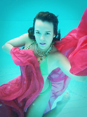 Brooke (Rollercoasterflight) Tags: pink blue red pool fashion swimming model nikon underwater jewelery satin aw100