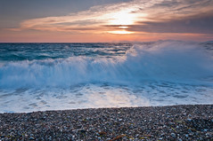 Waves in Rhodes Greece (Alja Vidmar | ADesign Studio) Tags: longexposure sea sun clouds nikon waves greece sherpa rhodes 200r cokin velbon ndfilter gnd d5000 nd8x