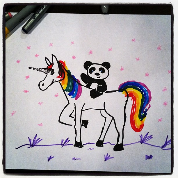 """Will you draw me a panda riding a rainbow unicorn with sparkles, Miss Lauren? PLEASE!!!!"" oh I love my kidlies <3 #unicorns"