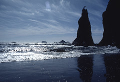 Sea Stacks (David R. Crowe) Tags: blue light sea usa colour building tower beach water river grey islands olympicpeninsula places northamerica wa 1980 reflectionof