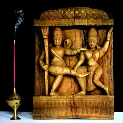 India, temple ornament, carved wood (HansHolt) Tags: india temple tempel ornament antique decoration decoratie versiering figures wood carved houtsnijwerk incense wierook burner brander canon 6d canoneos300d canonefs1855mmf3556 portraitencreux