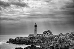 Portland Head Light (HFF) (WilliamND4) Tags: hff lighthouse fencefriday blackandwhite nikon d610 maine shore ocean cloud cloudy cliff rocks