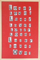 Notice Board 1  2016 (foggodavid) Tags: noticeboard red lover over concretepoetry collage repetition davidfoggo