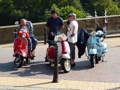 Scooters (Thomas Kelly 48) Tags: panasonic lumix fz150 ironbridge shropshire riversevern scooters bridge vespa lambretta