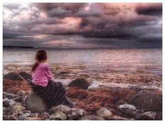 Girl  (NaturebyTina) Tags: brigde waterlove sunset stone cloudsoftheworld clouds color naturephotography worldpic photography water world europe fyn denmark beach girl