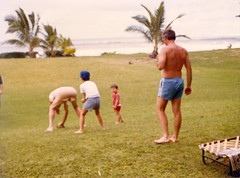 Football on the Lawn - c1983 (kimstrezz) Tags: 1983 familytriptohawaiic1983 hanaleibay kauai bert unclebob dad michael