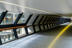 Glide (K3EPhoto) Tags: london line perspective vanishing point nikon d7000 colour draw look photo picture industrial design grey silver yellow wood glass metal modern architecture architect warm canary wharf tunnel bridge people window vision lines town city life work commute
