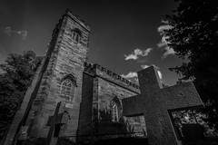 The best place to worship God. (Ian Emerson (Looking forward to a Scotland trip)) Tags: church churchyard headstone headstones cross trees clouds calke stgiles derbyshire worship blackwhite canon 1018mm