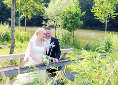 couple S & H (eva_wurzer) Tags: hochzeit braut harmonie ferne bume wald wasser see kleid sonne natur outdoor nikon grn gras weiher steine landschaft liebe paar anzug farbe bunt