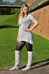 Stefanie 18 (The Booted Cat) Tags: sexy blonde girl model boots minidress pantyhose