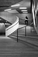 Switching Floors (baltibob) Tags: architecture art curve gallery light modern monochrome railing staircase stairs steps tatemodern arc bannister lights urban london england unitedkingdom