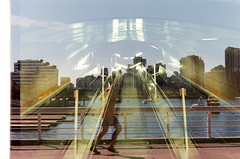 Escalator Run (Film Swap) (Prestonbot) Tags: filmswap doubleexposure canada germany film analogue kodakgold200 jogger runner running escalator k1000 falsecreek
