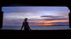 (leighbeta) Tags: sunset wales sea coast me self silhouette bunker stishmaels ferryside kidwelly carmarthenshire sky clouds dusk twilight