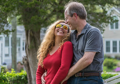 Hey, Wanda, I can see myself in your sunglasses! (tquist24) Tags: connecticut hww nikon nikond5300 outdoor westbrook bokeh color colorful couple girl hair happy man portrait pretty red reflection reflections smile summer sunglasses tree woman love
