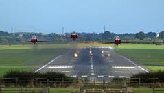 Red Arrows (andrewpeeluk) Tags: outdoor jet airplane plane raf redarrows ncl newcastleairport aviation avgeek planespotting takeoff